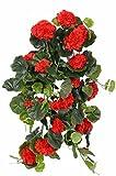 Set 2 x Deko Geranienhänger ANTON auf Steckstab, 130 Blättern, rot, 65 cm, Ø 35 cm - 2 Stück - Künstliche Geranie - artplants