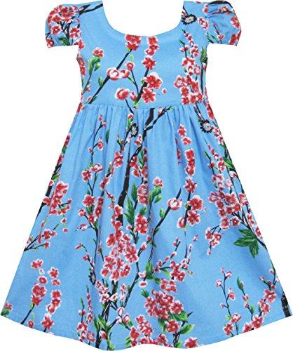 Sunboree Mädchen Kleid Chinesisch Pflaume Blume Drucken Prinzessin Blau Gr.92