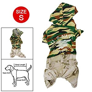 Size S Camouflage Print Hoodie Jumpsuit Clothes for Pet Dog from sourcingmap