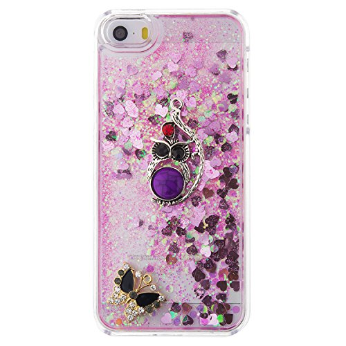MOONCASE iPhone SE Coque, Glitter Sparkle Bling [Owl] Faux Diamant Dessin Motif Liquide Étui Coque pour iPhone 5 / 5S / SE Durable Étui de Protection Hard PC Back Case Rose 04 Rose 04