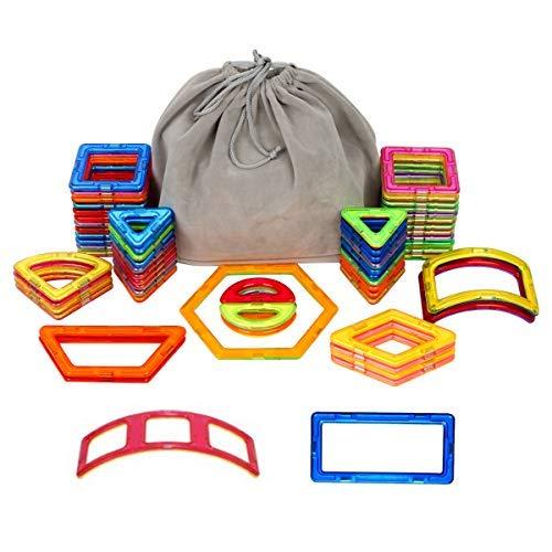 Magnetische Bauklötze Set,PONCTUEL ESCARGOT pädagogische Bausteine Magnetspielzeug,Konstruktion Blöcke, Weihnachtsgeschenk Lernspielzeug für Kinder über 3 Jahre mit Samtsack (64 pcs)