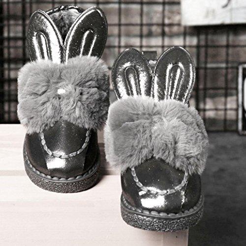 Bottes et boots,Transer® Mère et enfant famille bottes de neige plat cheville mignonne oreilles de lapin fourrure doublé hiver chaud chaussures Gris (Enfant)