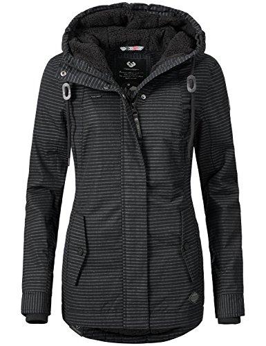 Ragwear Damen Jacke Winterjacke YM-Monade (vegan hergestellt) Black Stripes Gr. XL