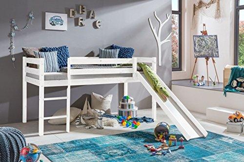 Hochbett Kinderbett Bett mit Rutsche Kiefer weiß