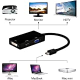 EErlik 3 In1 Mini Display Port Thunderbolt To HDMI/DVI/VGA Display Port (Cable) Adapter For MacBook, Microsoft Surface Pro & Pro 2,3 (Black/White)