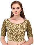 Hand Block Olive Green And Buff Daboo/Dabu Print Cotton Blouse With Bead Detail