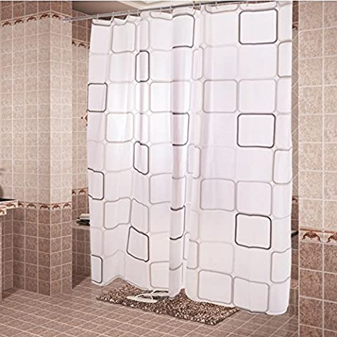 Ieasycan shower curtain, 100% polyester and 71'' by 71''in dimensions, White, water repellent and gets dry rapidly ensuring no mold or mildew emerges. Easy to wash and is machine friendly.¡­