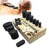 Sunflowerany Piedras Calientes para Masaje, 60 Piezas Piedras de Basalto Natural, Masaje con Caja para calefacción Terapia de acupuntura Tratamiento de Punto
