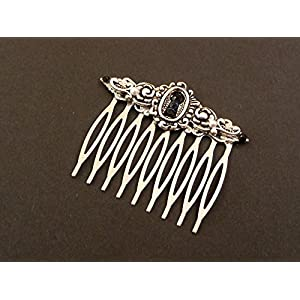 Haarkamm mit Schlüsselloch in schwarz silber
