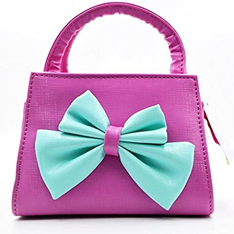 Aisa Little Girls Fashion Tote Handbag Adorable Bowknot Purse Shoulder Bag Corssbody Bag (Rose Red) by Aisa