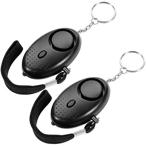Faburo 2Pcs Mini Alarm ,Taschenalarm ,Panikalarm ,Notfallalarm Schlüsselanhänger 130db mit LEd-Lampe für Frauen,Kinder und Senioren