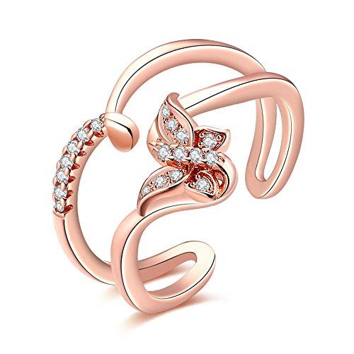 Yeahjoy da donna 2linee semplice apertura regolabile anelli regolabile a forma di farfalla cristallo intarsio fasce anelli, 18ct rosa oro, cod. LKN18KRGPR885