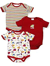 EIO® Newborn Baby Boy/Girl Multi-Color Cotton Short Sleeve Romper Jumpsuit Bodysuit Summer Outfits Set of 3