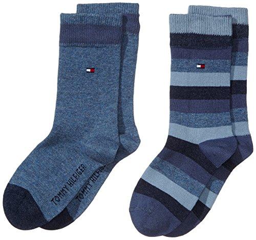 Tommy hilfiger - th kids basic stripe sock 2 paia, calze per bambini e ragazzi, blu(blau (jeans 356)), taglia produttore: 31-34