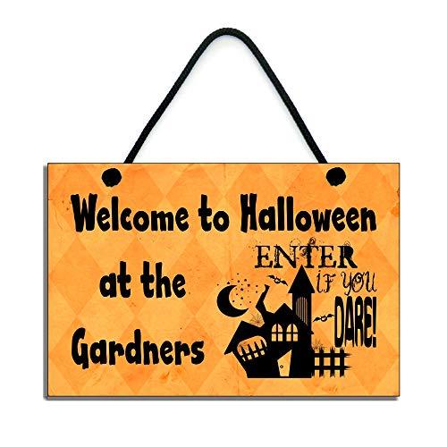 personalisierbar Halloween-Schild Welcome zu Halloween bei der Name handgefertigt Home Holzschild 664