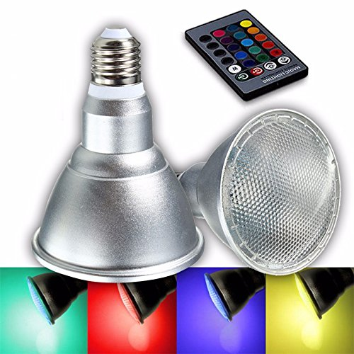 Seasiant India E27 8W Dimmable PAR30 RGB LED Light Color Changing Bulb Spot Flood Lamp Remote Control AC85-265V Single Item