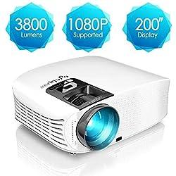 Proyector HD, ELEPHAS 1080P LCD Video proyector con 3800 lúmenes, Cine en casa con una Pantalla de 200 Pulgadas, Compatible con HDMI VGA AV USB Micro SD, Blanco