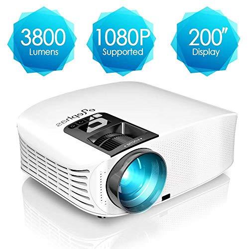 Projecteur HD, ELEPHAS Vidéoprojecteur Full HD 3800 Lumens Soutien 1080P Rétroprojecteur LED Compatible VGA HDMI AV USB Micro SD, Ordinateur, Smartphone, pour Football, Jeux Video, Films, Blanc