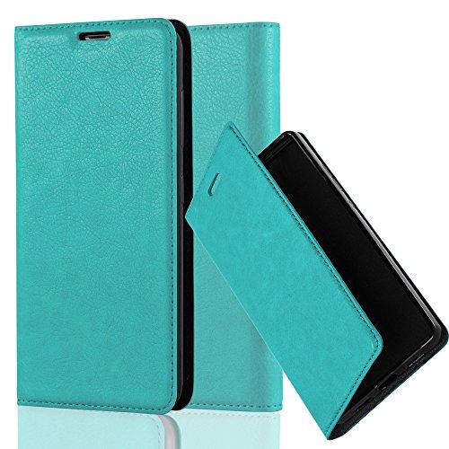 Cadorabo Hülle für Nokia Lumia 535 - Hülle in Petrol TÜRKIS – Handyhülle mit Magnetverschluss, Standfunktion und Kartenfach - Case Cover Schutzhülle Etui Tasche Book Klapp Style