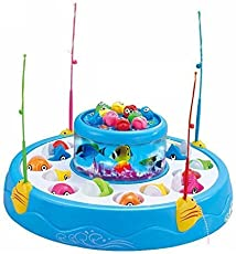 Toy Sports House Fish Catching Game Big with 26 Fishes and 4 Pods, Inclues Music and Lights Assorted Color