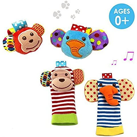 Daisy 4 x Animal Infant Baby Kids Wrist Rattle & Foot Finder Set Developmental Soft (Daisy Rattle)