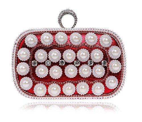 Frauen Taschen Perlen Kupplung Kleid Abendgesellschaft Hochzeit Kettenschulter Handtasche Mehrfarbig Red