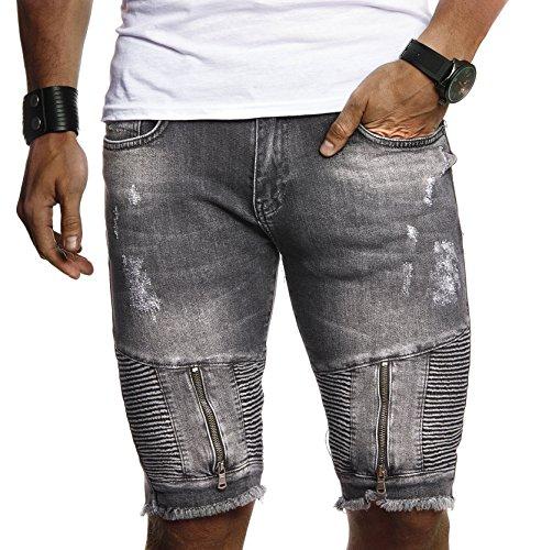 LEIF NELSON Herren Männer Jungen Sommer kurze Biker Jogger Jeans Hose Shorts Jeanshose Chinos Cargo Bermuda Basic 5-pocket Destroyed used Stretch Freizeithose Denim Slim Fit LN9155; W31; Schwarz