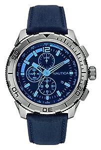 Nautica-Reloj de pulsera hombre cronógrafo cuarzo piel nai19518g de Nautica