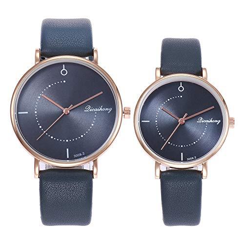 gaddrt Uhren, 2PCS Paare Arbeiten Leder-Band-analoge Quarz-Runde Armbanduhr-Uhren um (Dunkelblau)