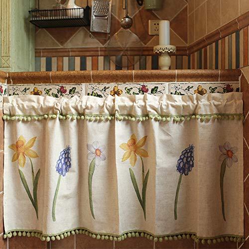 SP&ZS Halber Vorhang, Amerikanisches Land Baumwolle und Leinen Kurzer Vorhang Coffee Shop Küche Schranktür Waschbecken Halbe Vorhänge 1pcs-A 125x125cm(49x49inch) (Vorhänge Land Küche)