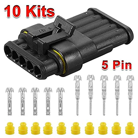 XCSOURCE 10 Sets 5-Pin Way Superseal Waterproof Electrical Wire Cable Connector Plug for Car Bike Boat Marine Truck