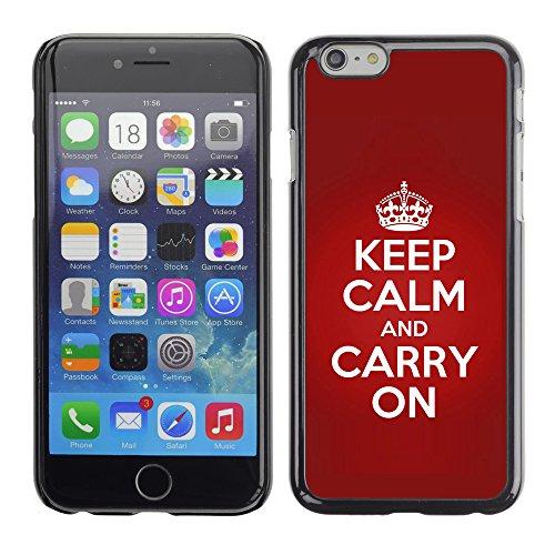 Graphic4You Keep Calm and Carry On Design Harte Hülle Case Tasche Schutzhülle für Apple iPhone 6 / 6S (Blau) Red