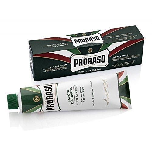 Jabon Crema de Afeitar en Tubo Proraso con Aceite de Eucalipto y Mentol Tonificante y Refrescante y con Aceites Naturales M00111