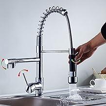 Auralum - Moderno Grifo de Lavabo Mezclador Monomando para Lavabo del Cocina, Grifo del Fregadero con ducha extraíble