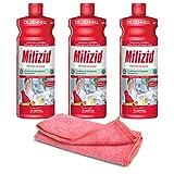 3x 1,0 L Sanitärreiniger - Kalklöser - WC Entkalker - Urinsteinlöser | inkl. hochwertigen Profi-Microfasertuch Rot