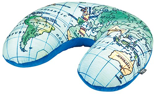 moses. Fernweh Nackenkissen in blau für Reisen | 2-in-1 Nackenhörnchen und Kopfkissen | Kissen mit Weltkarten Motiv