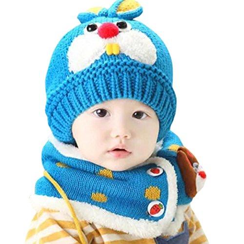LuckyGirls Wolle Hut + Schal Set Baby Jungen Mädchen Kaninchen Zähne Mütze (blau)