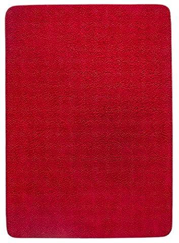 Shaggyteppich, Langflor, Hochflor, Teppichläufer, Brücke, Wohzimmer, Esszimmer, weicher Flor, uni-Farben, schadstofffrei, strapazierfähig, pflegeleicht, 100% Polypropylen, 100 cm x 150 (Teppich Rot)