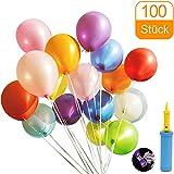 Luftballons, Luftballons pump und Luftballon-Clip, Luftballons bunt Geeignet für alle Arten von Feierlichkeiten - 100 Stück