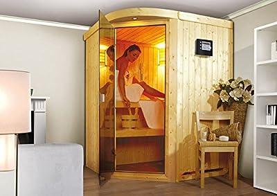 Asmada - Karibu Sauna inkl. 9-kW-Ofen - mit Rundbogen - von Woodfeeling GmbH auf Du und dein Garten