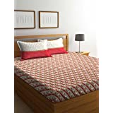 Trident Comfort Living 120 TC Cotton Double Bedsheet with 2 Pillow Covers - Geometric, Queen Size, Merion Red