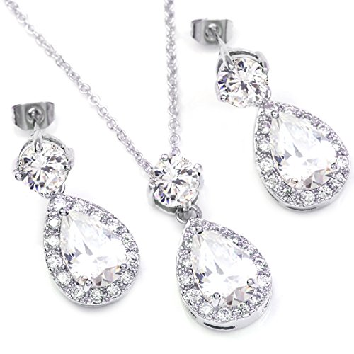 Colorfulday White Gold GP Blue Crystal Teardrop Bridal Necklace Dangle Earring Jewelry Set Tw2ZNKkU