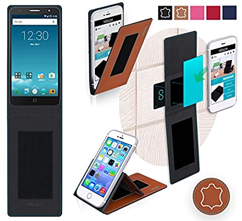 Alcatel Pop Mirage Cover in Brown Leather - innovative 4 in 1 Case - Anti-Gravity Wall Mount, Car Tablet Holder, Table Stand Holder - Protective Bumper for a Car and Wall without tools or glue - for the Original Alcatel Pop Mirage from