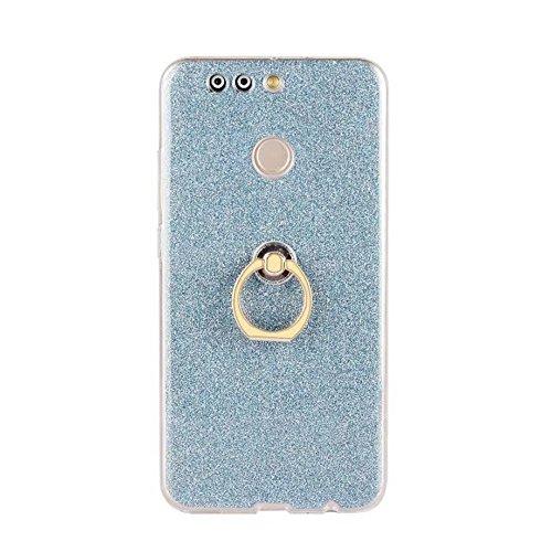 Soft Flexible TPU Back Cover Case Shockproof Schutzhülle mit Bling Glitter Sparkles und Kickstand für Huawei Hornor V9 ( Color : Blue ) Blue
