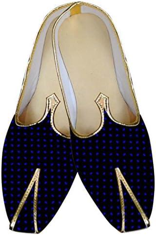 INMONARCH Punto Azul y Negro Hombres Zapatos de Boda MJ015815