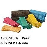 1800 x Holz Verglasungsklötze Set Glasklötze Unterleger 80x24x 1, 2, 3, 4, 5, 6 mm Hartholz Buche Distanzklötze Trageklötze Abstandshalter
