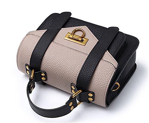 XinMaoYuan Hit Color Paket Querschnitt Farbe Rindsleder Handtasche einfach Wild Damen Portable Messenger Umhängetasche Blau mit Rosa