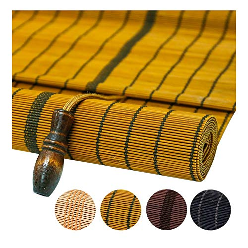 PENGFEI Bambus Rollo Schatten Bambusrollo Raffrollos Jalousie Balkon Sonnenschutz Lichtfilterung Retro Atmungsaktive Trennwand, Anpassbare (Color : A, Size : 100x180cm)