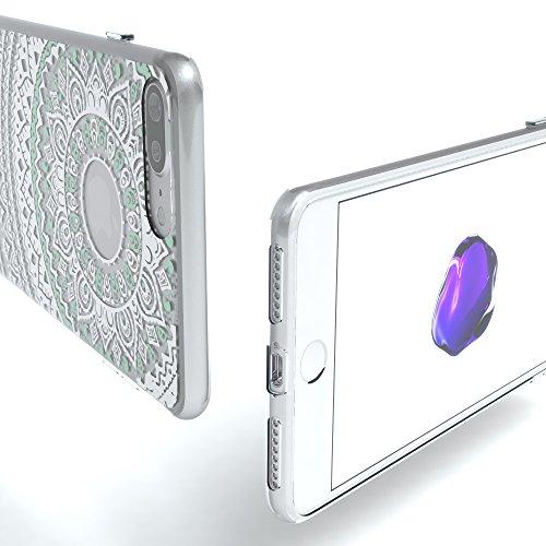 "iPhone 8+ Hülle / iPhone 7+ Hülle - EAZY CASE Slimcover ""Henna"" Handyhülle für Apple iPhone 7 Plus & iPhone 8 Plus - Flexible Schutzhülle mit Indian Sun Design in Weiß / Rosa Transparent Weiß / Türkis"