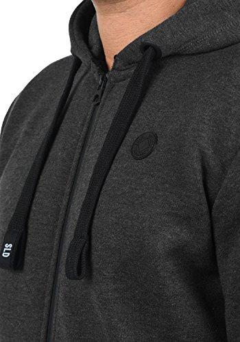 SOLID Bene Herren Sweatjacke Kapuzen-Jacke Zip-Hood aus einer hochwertigen Baumwollmischung Dark Grey Melange (8288)